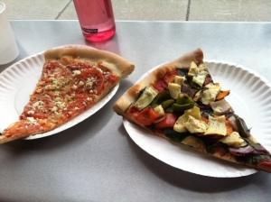 tomato feta on the left, vegan veggie on the right