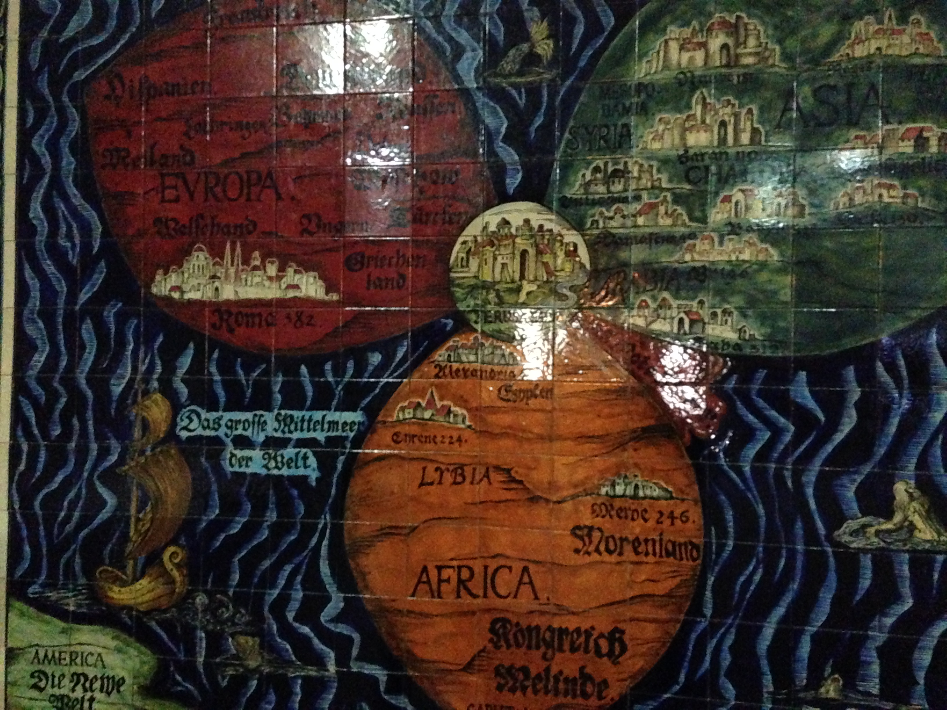 Waffle bar treasure your being the mural shows a map of jerusalem as the center of the world and its based on an actual map from the 1500s depicting the belief of the medieval time gumiabroncs Image collections